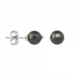 MAJORICA GREY PEARL DIAMOND EARRINGS-15431.82.2