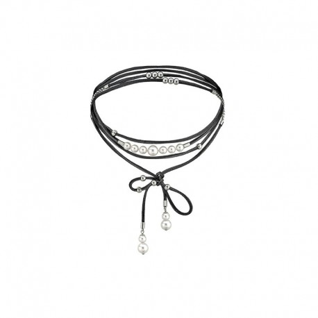 MAJORICA WOMEN'S STEEL & LEATHER NECKLACE-15841.01.0.000.010.1